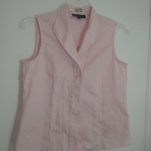 Pastel Pink Sleeveless Button Down Shirt Size 10